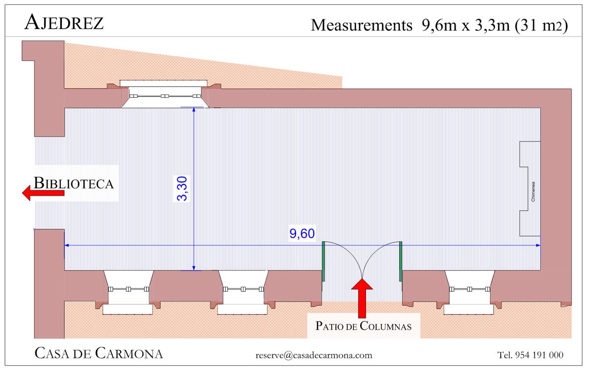 Salon ajedrez casa palacio de carmona for Planos de casas con medidas