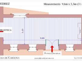 Salón Ajedrez at the Casa de Carmona - Plan with Measurements