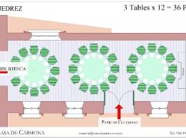 Salón Ajedrez at the Casa de Carmona - Plan with 3 Round Tables of 12