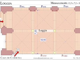The Loggia, Plan with Measurements