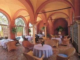 The Pool is at the background, behind the Loggia