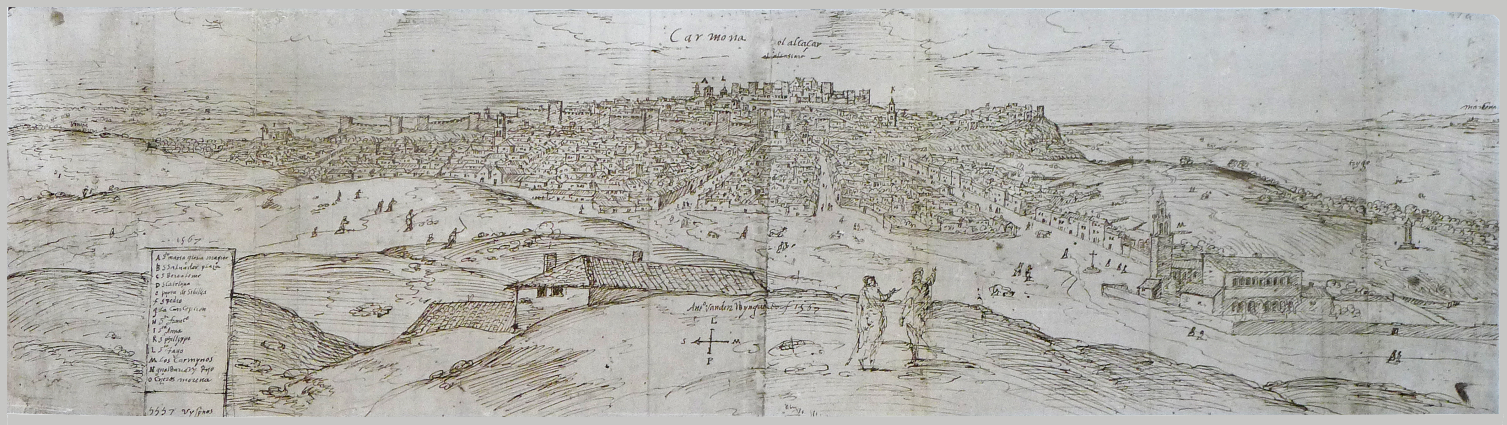 A Drawing of the Carmona Skyline by Anton van den Wyngaerde, 212 x 765 mm